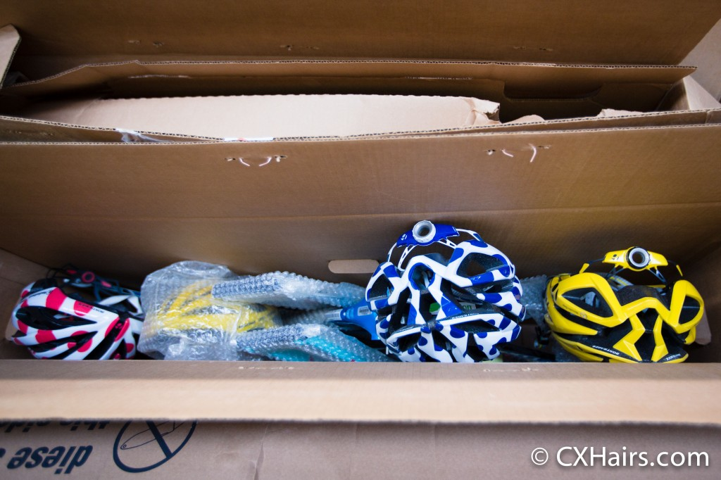 An old frame and leftover leaders' helmets from a past Tour de France.