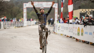 Sam O'Keefe wins the D2 Collegiate Championship at the 2015 US Cyclocross Championship in Austin, Texas. Photo by Bruce Buckley