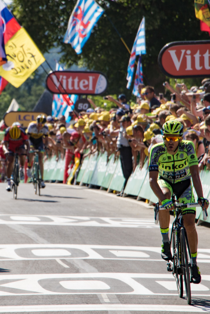 "Alberto Contador (Tinkoff-Saxo) finished 18"" back."