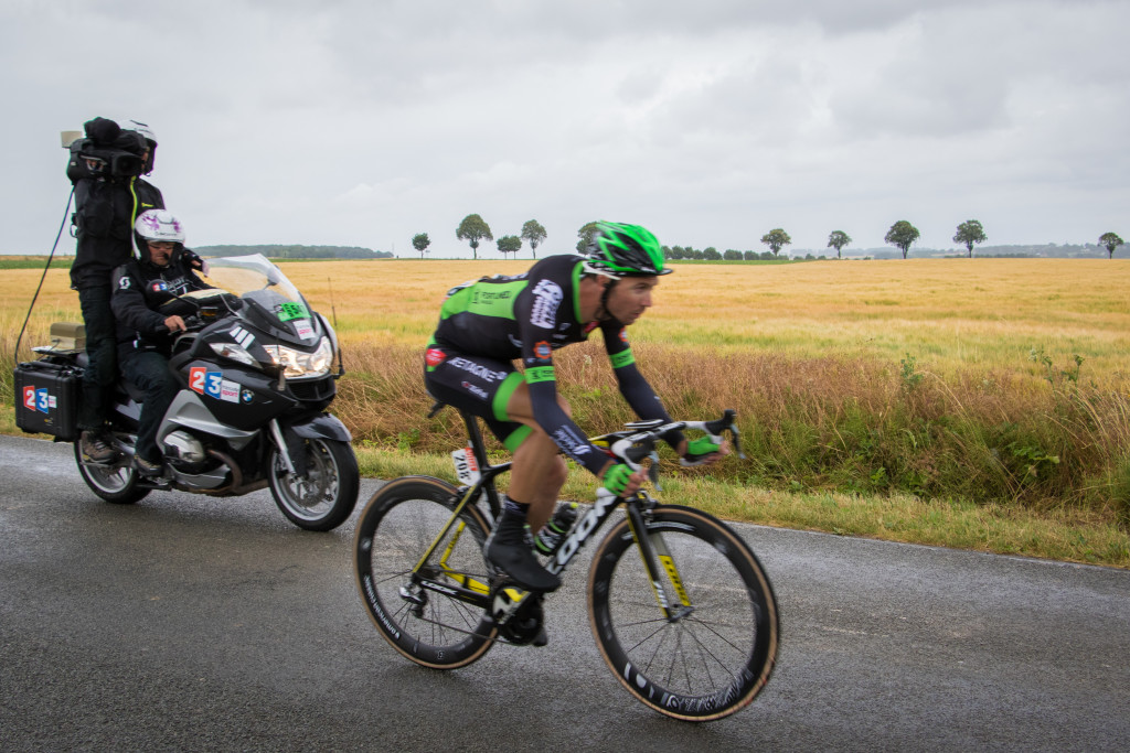 Pierre-Luc Perichon (Bretagne-Seche Envioronnement) was the lone breakaway rider of the day.
