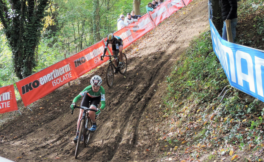 Eva Lechner and Nikki Harris tackle the ruts. © 2015 Cat Armour