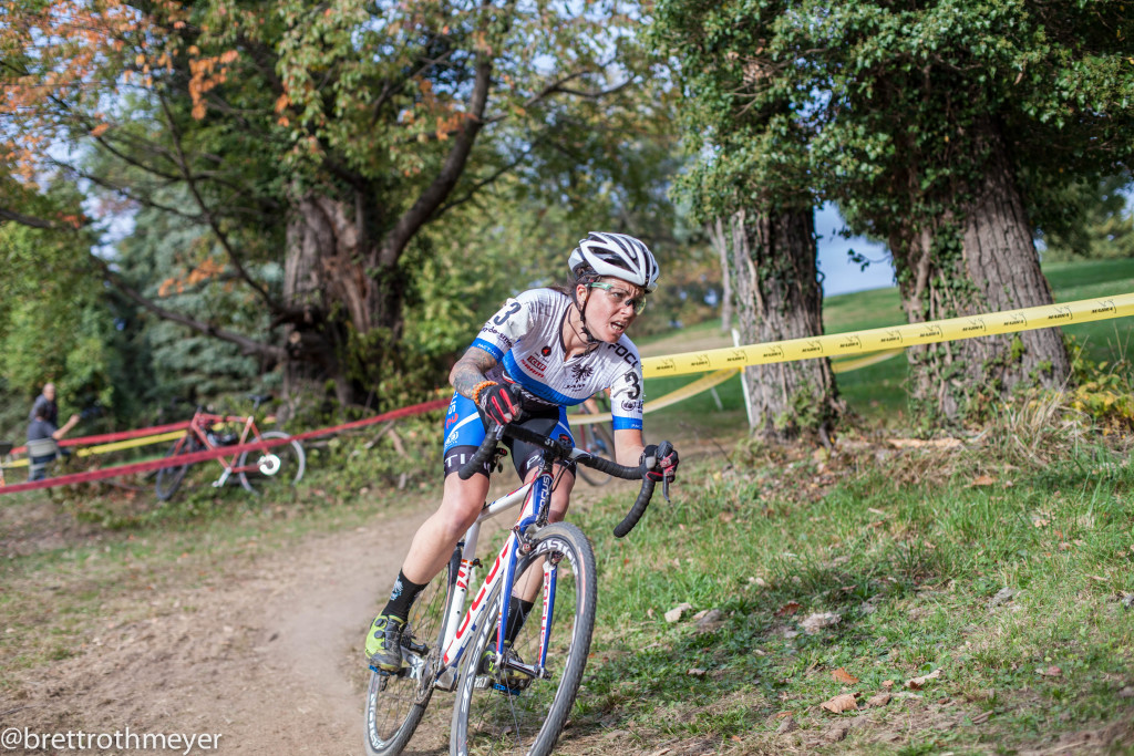 Jena Greaser put in huge efforts both days, overcoming mechanicals to post her best UCI results. © 2015 Brett Rothmeyer