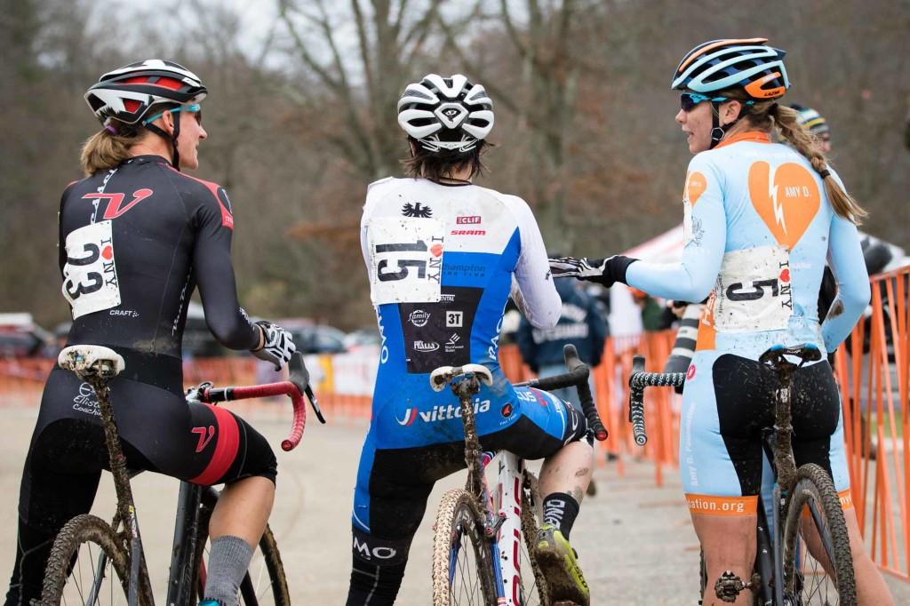 Post race, Fahringer, Greaser and Maximenko (4th) debrief.