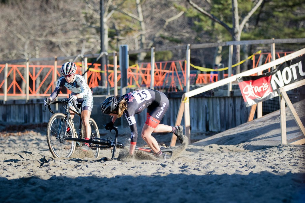 Lysakowski got her front wheel caught in the sand before dismounting and crashed, forcing Kemmerer to take the long way around.