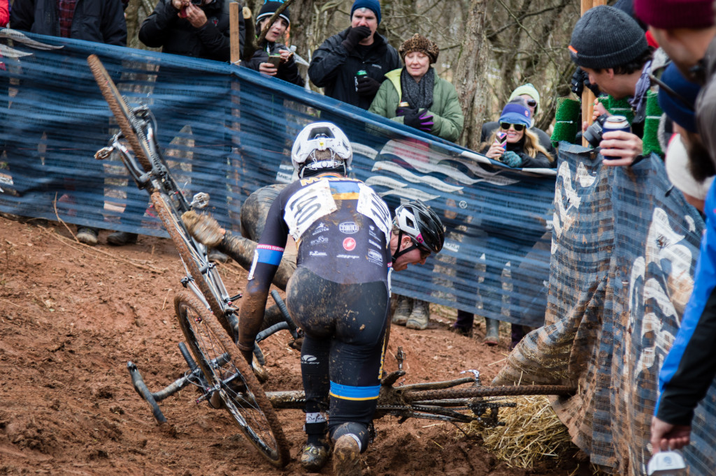 Immediately after the drop, riders chicane left, then a sweeping right, made even harder by the rain-slicked clay mud. Suffice to say, it didn't end well for all riders.