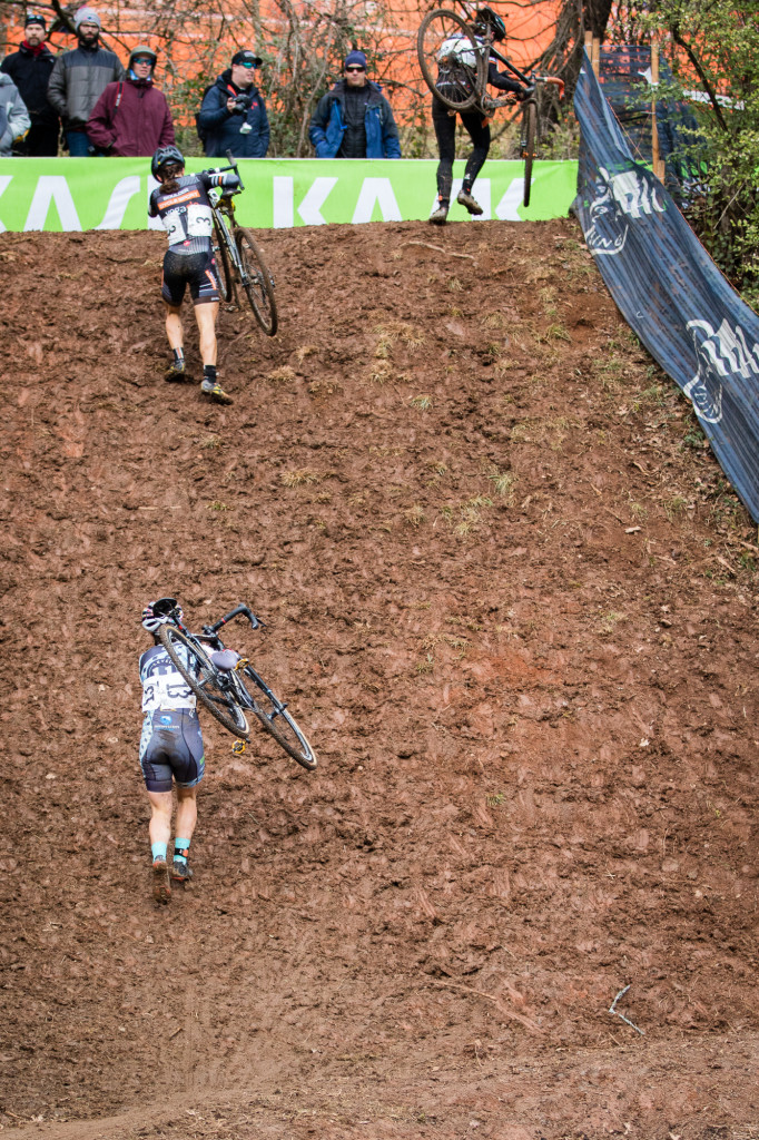 Elsewhere, the course featured three separate run/climb ups – one of which seen here during the women's elite race. Each of them was a veritable wall of mud and grass.