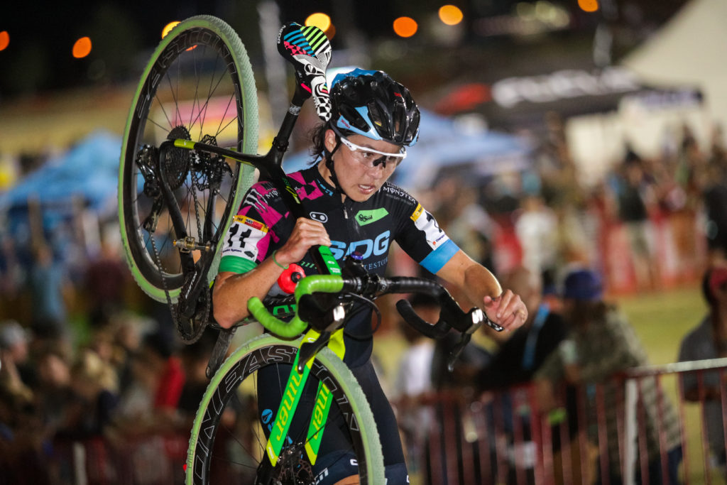 Amanda Nauman (SDG-Muscle Monster) showing off that SDG Components saddle during the CrossVegas World Cup. © 2016 Bruce Buckley Photography.