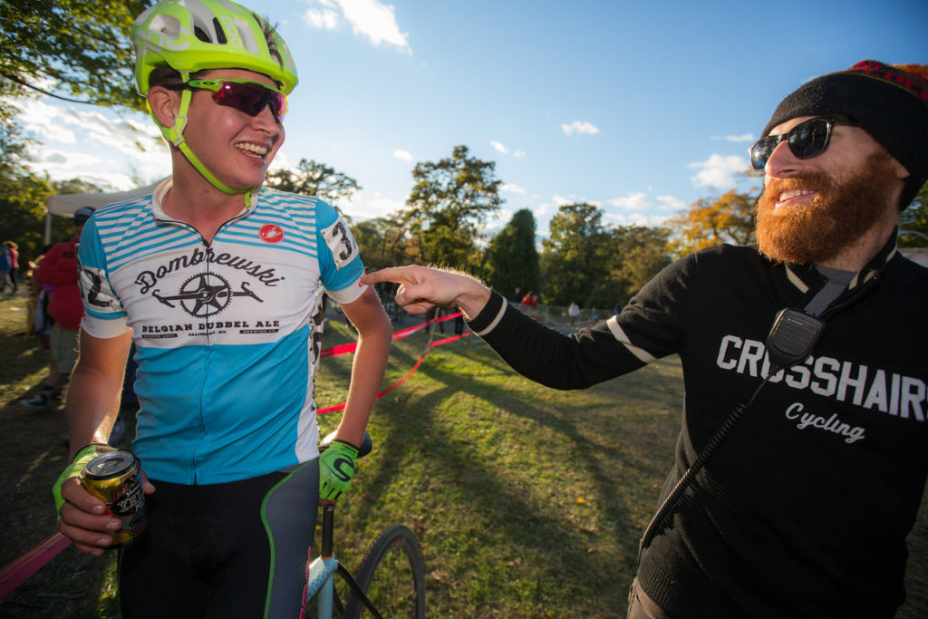 "Dombrowski traded in his Canondale cape for a ""Dombrewski"" jersey, in honor of the release of his limited-edition craft beer on Saturday. Seen here with DCCX Race Director Taylor Jones."