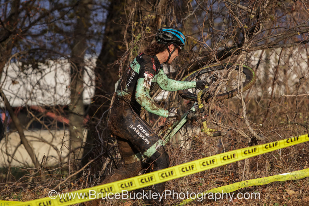 Slick conditions sent many racers off course and, in Andrew Juiliano's (Voler/CLIF/HRS/Rock Lobster) case, sent him into the brambles.