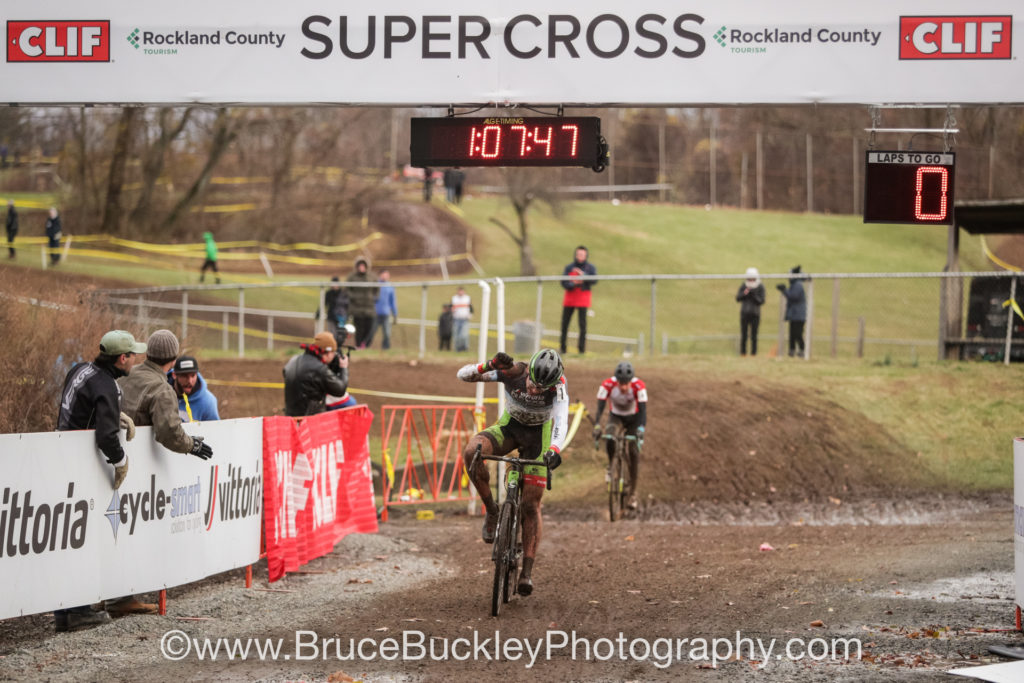 After a tough loss on Saturday, it was redemption for White as he gapped Martin in the final turn. White retained his leaders jersey in the Vittoria Northeast cyclocross series.