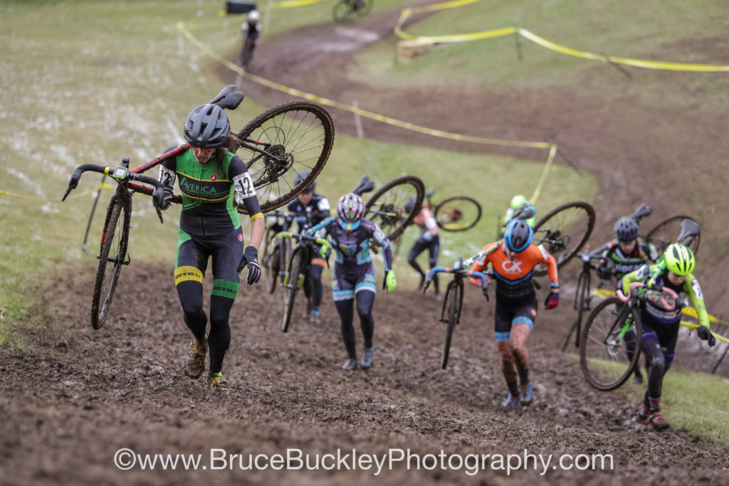 Rockland Community College's multiple muddy climbs took their toll on the women's pro field as the race wore on.