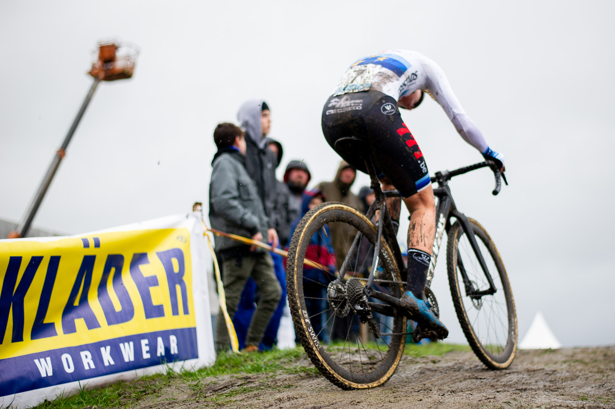 "Eventual second-place finisher Anne-Marie Worst ascends the large ""hill"" in Hoogstraten"