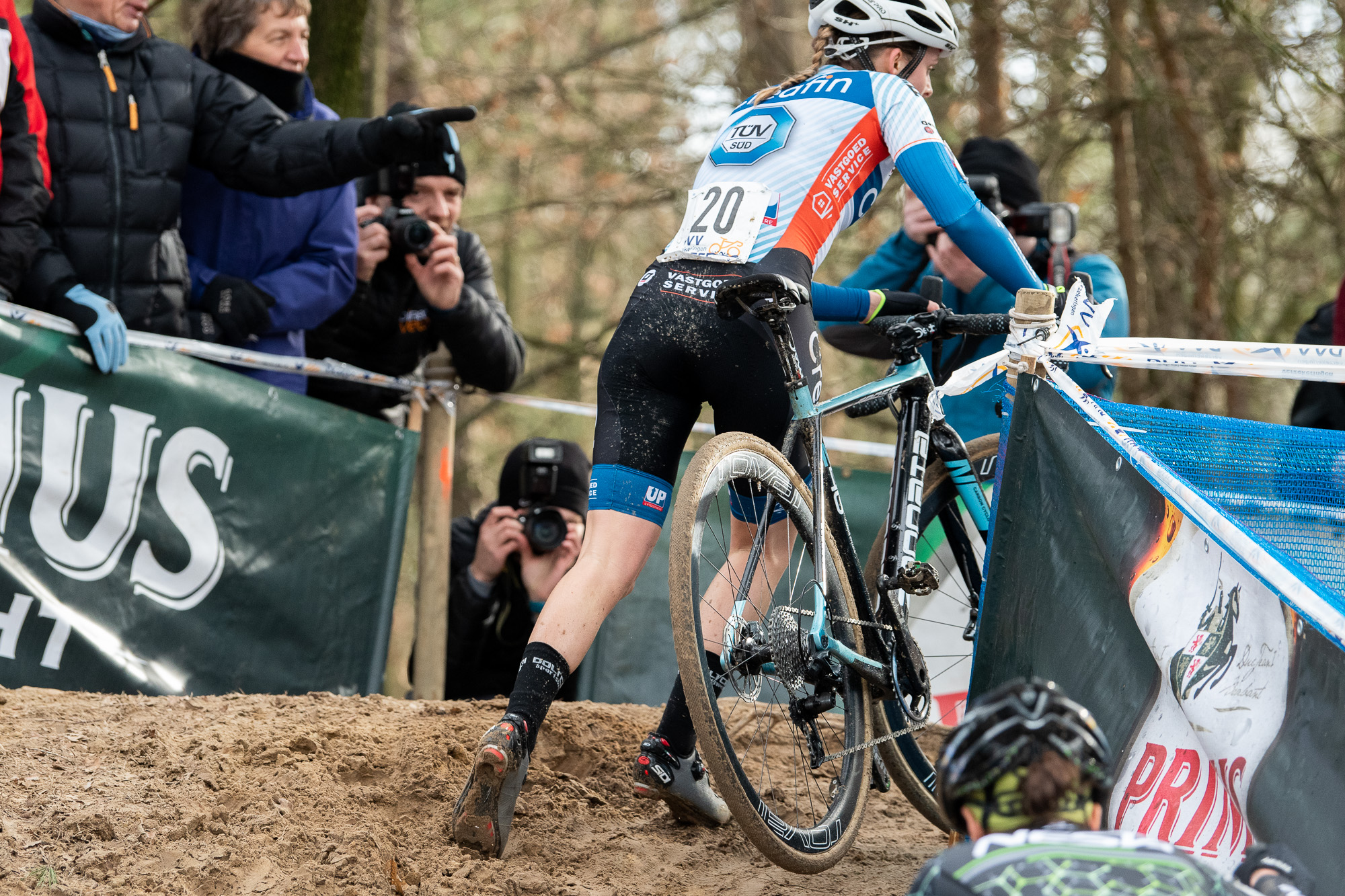 Karen Verhestraeten in one the S-turn sections of the course.