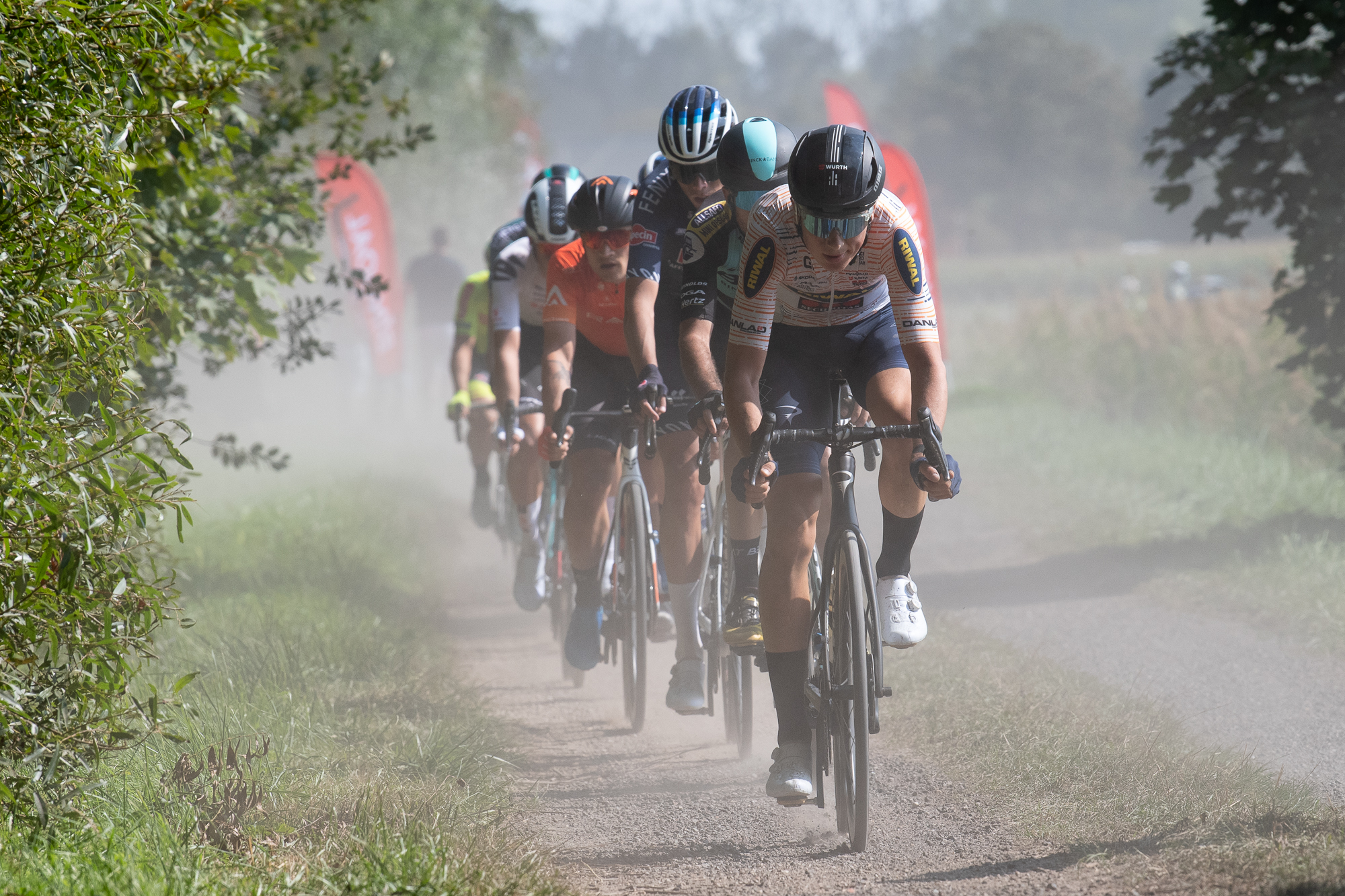 Tobias Kongstad leads the early breakaway at the Antwerp Port Epic