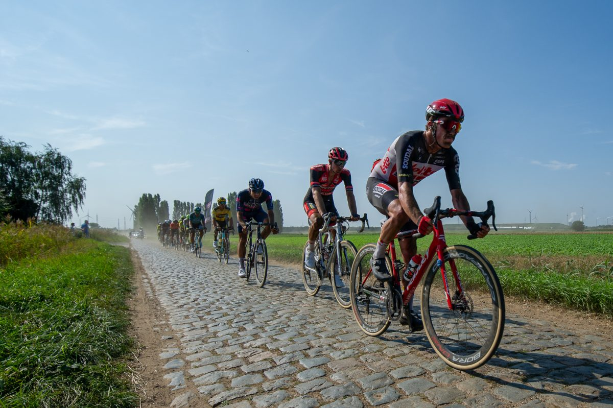 The pack riding across the cobbles at the Antwerp Port Epic