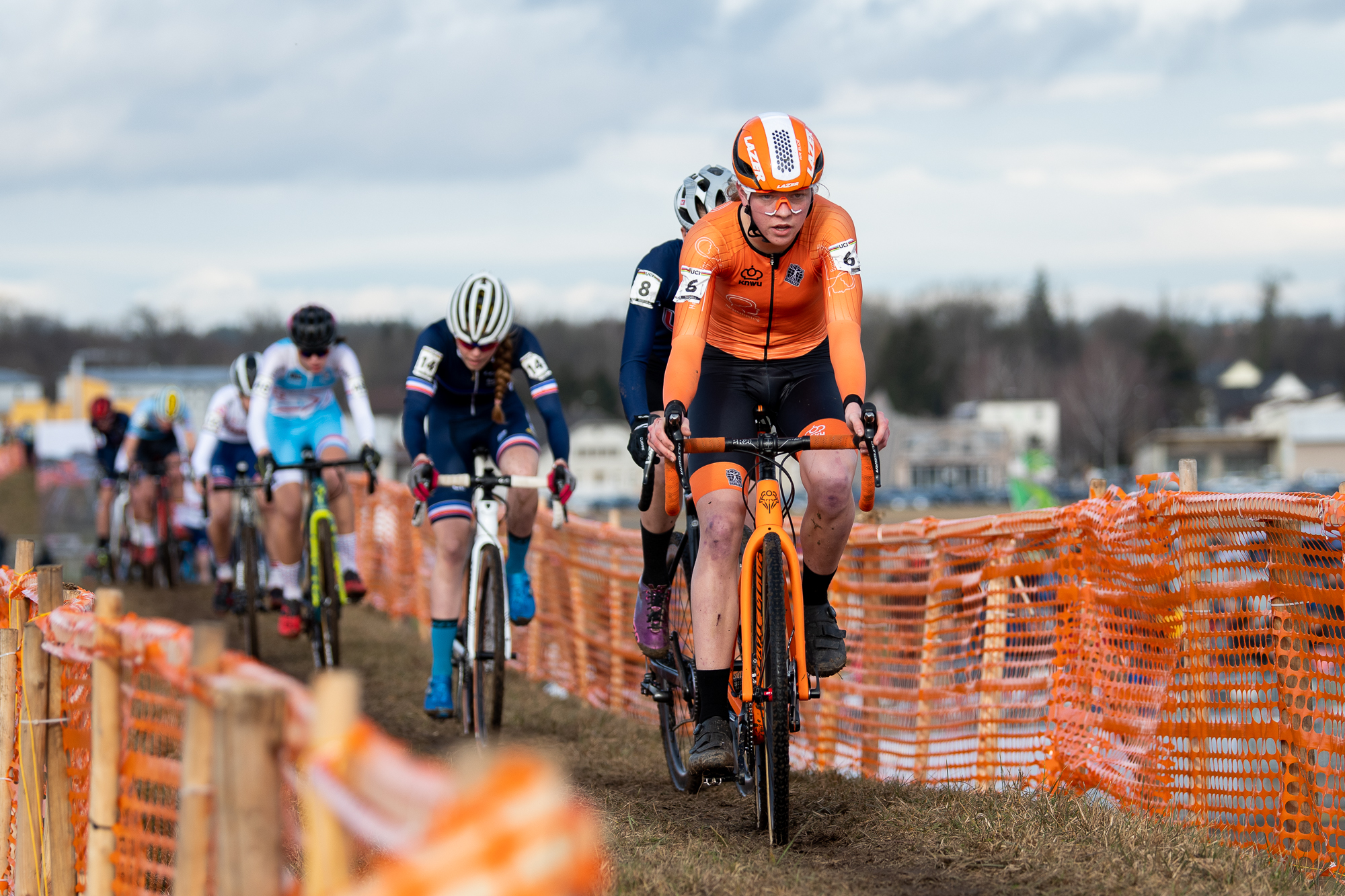 Fem van Empel leads a group at the UCI Cyclocross World Championships - Dubendorf