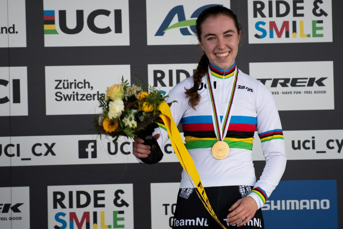 Shirin Van Anrroij on the podium at the UCI Cyclocross World Championships